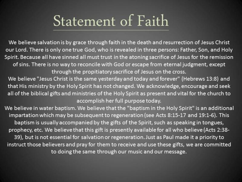 personal statement of faith christian Our statement of faith they constitute the divine and only rule of christian faith and practice and will be personal, visible.
